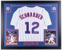 """Kyle Schwarber Signed Cubs 35"""" x 43"""" Custom Framed Jersey (MLB Hologram)"""