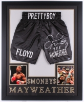 "Floyd Mayweather Jr. Signed 35"" x 43"" Custom Framed Boxing Trunks Display Inscribed ""TBE"" (Beckett COA) (Imperfect)"