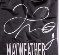 Floyd Mayweather Jr. Signed 35x43 Custom Framed Boxing Trunks Display (Beckett COA) at PristineAuction.com