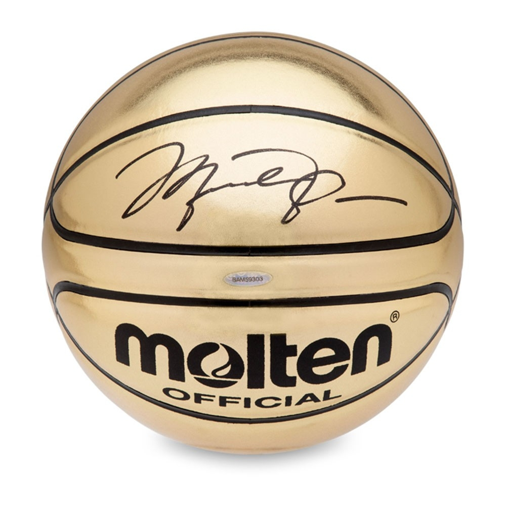 Michael Jordan Signed Molten Gold Trophy Basketball (UDA) at PristineAuction.com