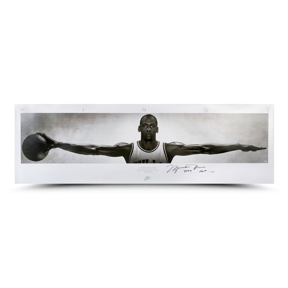 "Michael Jordan Signed Bulls ""Wings"" 23x72 Limited Edition Print Inscribed ""2009 HOF"" (UDA) at PristineAuction.com"