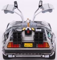 "Michael J. Fox & Christopher Lloyd Dual Signed ""Back to the Future II"" DeLorean Time Machine 1:24 Diecast Car (PSA Hologram) at PristineAuction.com"