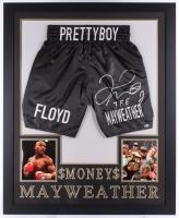 "Floyd Mayweather Jr. Signed 35"" x 43"" Custom Framed Boxing Trunks Display Inscribed ""TBE"" (Beckett COA)"