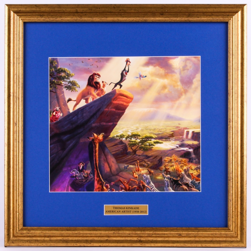 "Thomas Kinkade Walt Disney ""Lion King"" 18.5x18.5 Custom Framed Print Display at PristineAuction.com"