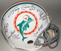1972 Dolphins Full-Size Authentic On-Field Helmet Team-Signed by (6) with Bob Griese, Larry Csonka, Manny Fernandez, Mercury Morris, Dick Anderson, Larry Little (Steiner COA)
