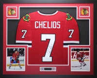 "Chris Chelios Signed 35"" x 43"" Custom Framed Jersey (JSA COA) at PristineAuction.com"