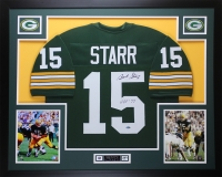 "Bart Starr Signed Packers 35"" x 43"" Custom Framed Jersey Inscribed ""HOF 77"" (Steiner Hologram)"