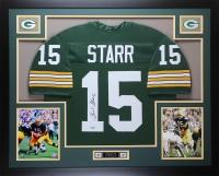 """Bart Starr Signed Packers 35"""" x 43"""" Custom Framed Jersey (Steiner Hologram)"""