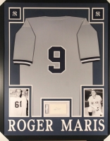 Roger Maris Signed Yankees 35x43 Custom Framed Display with Jersey & Signed Cut (PSA Encapsulated)