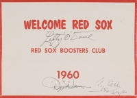 Dizzy Dean, Ty Cobb & Lefty O'Doul Signed 1960 Red Sox 7x5 Boosters Club Plaque (Beckett LOA)