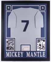 "Mickey Mantle Signed Yankees 35"" x 43"" Custom Framed Display with Jersey & Signed Index Card (PSA Authentic) at PristineAuction.com"