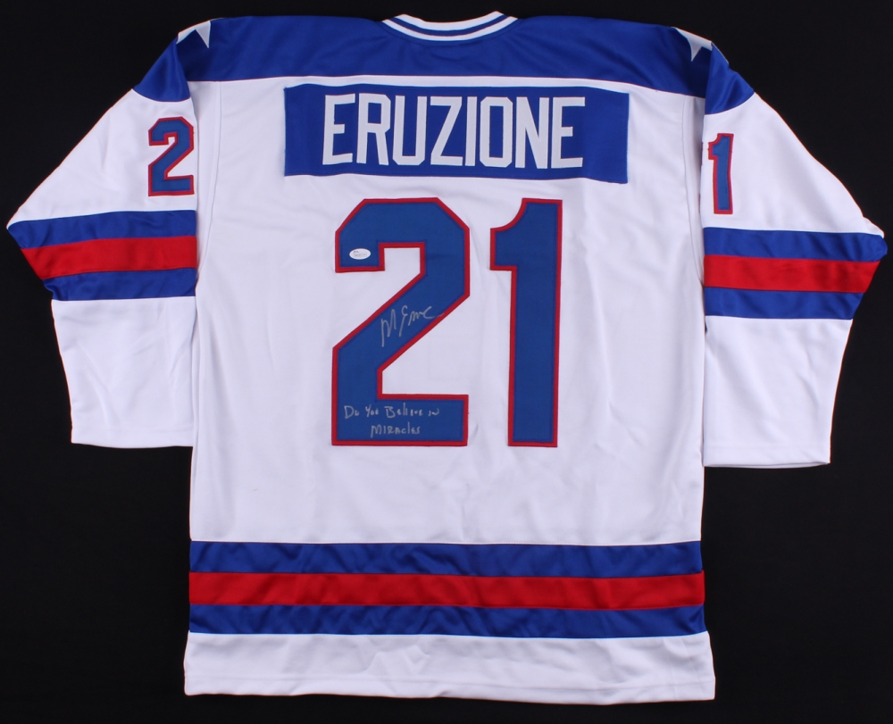 Mike Eruzione Signed Signed Team USA Jersey Inscribed