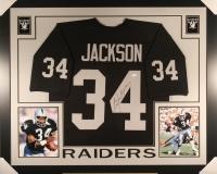 Bo Jackson Signed Raiders 35x43 Custom Framed Jersey (JSA COA)