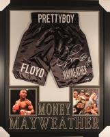 Floyd Mayweather Jr. Signed 36x44 Custom Framed Boxing Trunks Display (Beckett COA