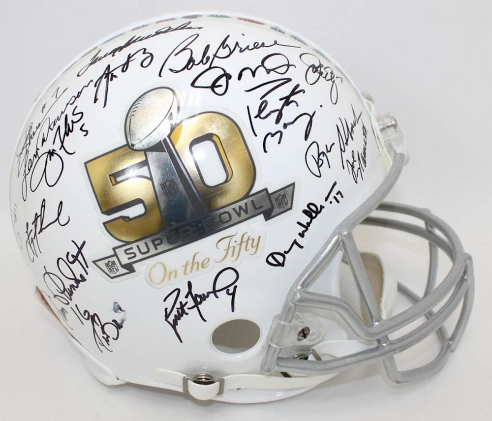 7b3ec45bf55 NFL Great Quarterbacks Signed Super Bowl 50 Full Size Helmet with (17)  Signatures Including Peyton Manning