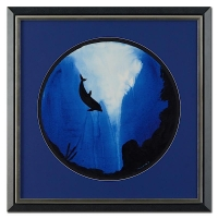 "Wyland ""Dolphin"" Signed Original Watercolor on 19"" Round Deckle-Edge Paper (Custom Framed to 30"" x 30"")"