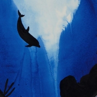 "Wyland ""Dolphin"" Signed Original Watercolor on 19"" Round Deckle-Edge Paper (Custom Framed to 30"" x 30"") at PristineAuction.com"
