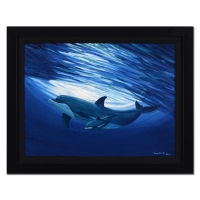 "Wyland ""Dolphin Bond"" Signed 23.5"" x 17.5"" Original Oil Painting on Canvas (Custom Framed to 29"" x 22.5"") at PristineAuction.com"