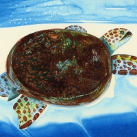 "Wyland ""Blue Turtle"" Signed 23.5"" x 15"" Original Watercolor Painting on Deckle-Edge Paper (Custom Framed to 35"" x 27"") at PristineAuction.com"