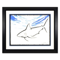 """Wyland """"Shark"""" Signed 30"""" x 23"""" Original Watercolor Painting on Deckle-Edge Paper (Custom Framed to 43.5"""" x 36"""") at PristineAuction.com"""