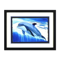 "Wyland ""Dolphin Up"" Signed 23.5"" x 15"" Original Watercolor Painting on Deckle-Edge Paper (Custom Framed to 33"" x 25"") at PristineAuction.com"