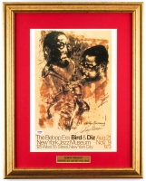 "LeRoy Neiman Signed ""The Bebop Era Bird & Diz"" 17.5x22 Custom Framed Print Display (PSA COA)"
