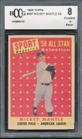 1958 Topps #487 Mickey Mantle AS TP (BCCG 8)