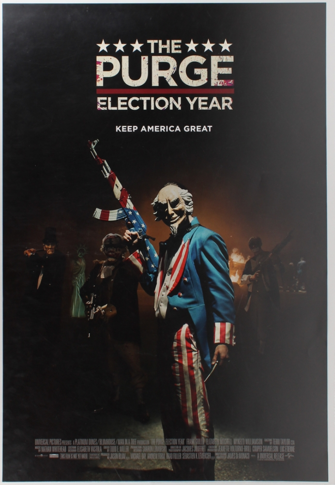 "Original 2016 Frank Grillo & Elizabeth Mitchell ""The Purge: Election Year"" 27x39.5 Movie Poster at PristineAuction.com"