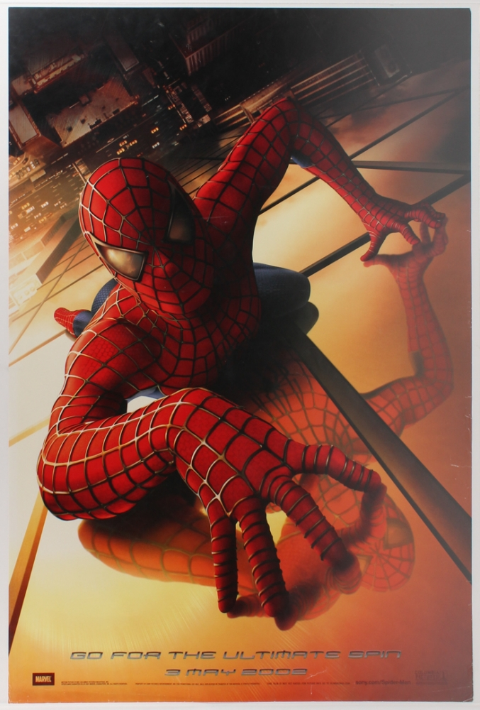 "Original 2002 Tobey Maguire & Willem Dafoe ""Spider-Man"" 26.75x39.75 Movie Poster at PristineAuction.com"