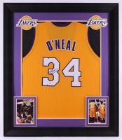 Shaquille O'Neal Signed Lakers 31.75x37 Custom Framed Jersey Display (PSA COA) at PristineAuction.com