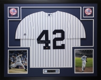 Mariano Rivera Signed 35x43 Custom Framed Jersey Display (Steiner COA) at PristineAuction.com