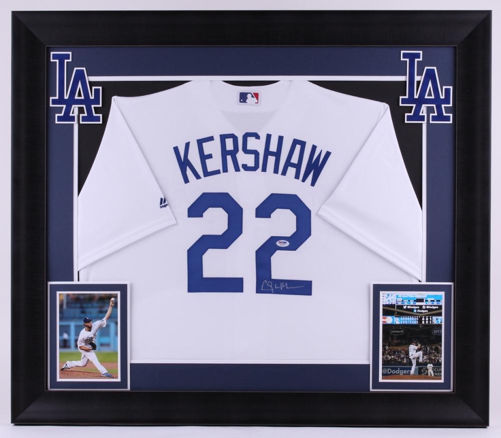 Clayton Kershaw Signed Dodgers 31.75x37 Custom Framed Jersey Display (PSA  COA) at PristineAuction fe5dafaf173