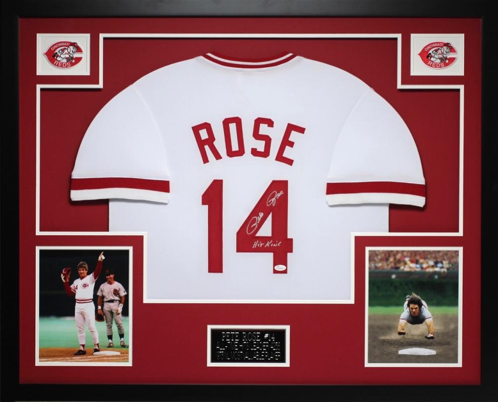17e0b2ccf Pete Rose Signed Reds 35x43 Custom Framed Jersey Inscribed