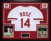 "Pete Rose Signed 35x43 Custom Framed Jersey Inscribed ""Hit King"" (JSA COA) at PristineAuction.com"