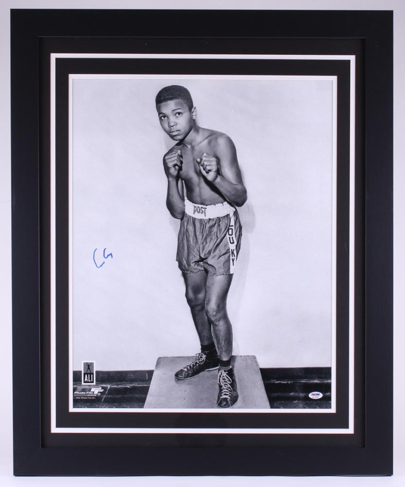 Online sports memorabilia auction pristine auction cassius clay muhammad ali signed 275x335 custom framed photo psa jeuxipadfo Choice Image