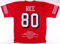 Jerry Rice Signed 49ers Career Highlight Stat Jersey (PSA COA)
