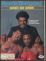 Muhammad Ali, Joe Frazier & Don King Signed 1975 Sports Illustrated Magazine (PSA LOA)
