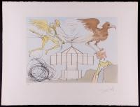 "Salvador Dali Signed ""L'aeroplane"" 22x29 Artists Proof Lithograph (PA LOA)"