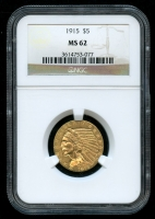 1915 $5 Indian Head Half Eagle Gold Coin (NGC MS 62)
