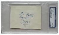 """Ty Cobb Signed Cut Inscribed """"8/4/49"""" (PSA Encapsulated)"""