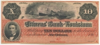 """1860's Citizen's Bank of Louisiana $10 Ten Dollars """"Dixie Note"""" Bank Note (High Grade Uncirculated Condition) at PristineAuction.com"""