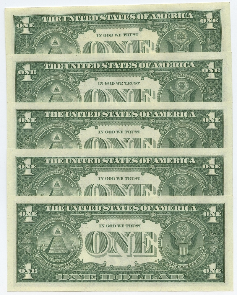Online sports memorabilia auction pristine auction lot of 5 1957 a 1 one dollar us silver certificates with consecutive xflitez Images
