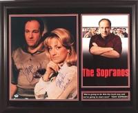 "James Gandolfini & Edie Falco Signed ""The Sopranos"" 16x20 Custom Framed Photo Display With (2) Inscriptions (PSA LOA)"