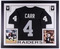 """Derek Carr Signed Raiders 35"""" x 43"""" Custom Framed Jersey (Steiner COA)"""