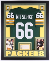 "Ray Nitschke Signed Packers 35"" x 43"" Custom Framed Display with Jersey & Signed Index Card (PSA Authentic)"