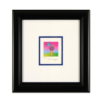 "Peter Max Signed ""Cosmic Umbrella Man"" Limited Edition 10x10 Custom Framed Lithograph #465/500"