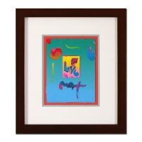 "Peter Max Signed ""Love"" 19x21 Custom Framed One-Of-A-Kind Acrylic Mixed Media"
