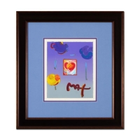 "Peter Max Signed ""Heart"" 21x23 Custom Framed One-Of-A-Kind Acrylic Mixed Media"