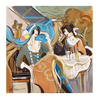 "Isaac Maimon Signed ""Cocktail Lounge"" 21x22 Original Acrylic Painting on Canvas"