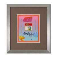"Peter Max Signed ""Umbrella Man"" 19x21 Custom Framed One-Of-A-Kind Acrylic Mixed Media"